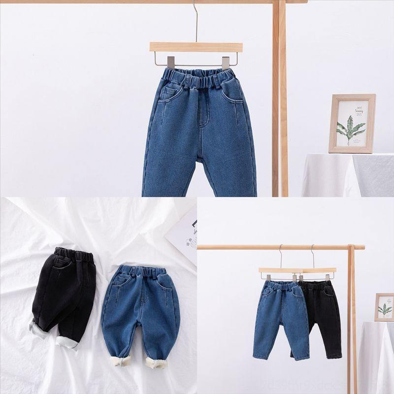 dh5aj Big Girl Gardez la chaude Set Nouveaux filles Ajouter Velvet costume printemps et automne grand jeans épaissie enfant porter enfant enfant sweat-shirt jeans