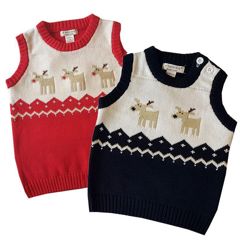 Niños de punto Bebé Bebé Niña Niña Algodón Cálido Ropa de Navidad Chicas Suéter Chaleco Moose Red Tops 201110
