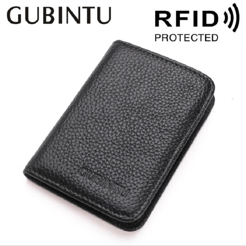 Portafogli da uomo sottili da uomo sottile di lusso / titolare della carta di credito Blcking RFID Portafoglio Bifold Designer in pelle genuina di alta qualità in Gubintu