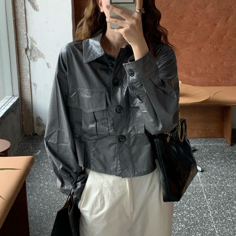 2021 Giacca da donna in pelle da donna nuovo stile coreano a maniche lunghe a maniche lunghe a maniche lunghe in stile coreano in pelle solido Giacca da donna in pelle PU