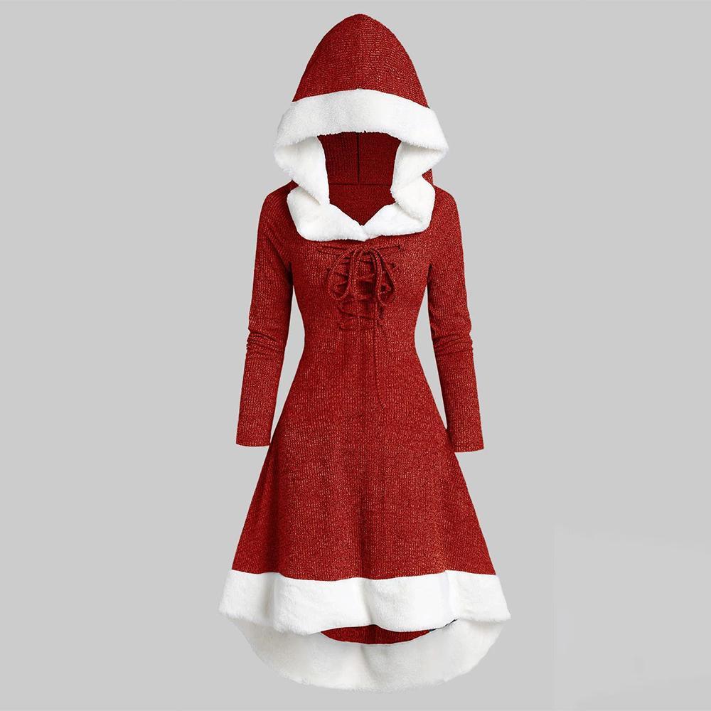 Plus Size Frauen Mit Kapuze Kleid Cosplay Weihnachtskostüme Rot Patchwork Plüsch Gestrickte Kleider Winter Carnival Party Clubwear D30