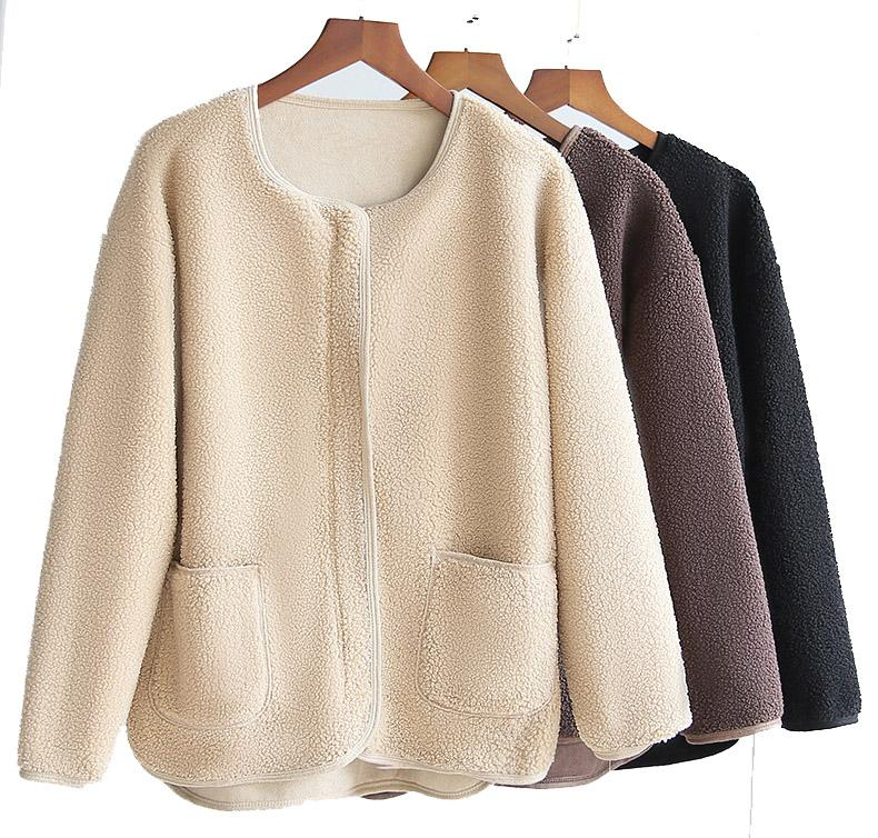 2021 Yeni Ferber Polar Ceket Kadınlar Için Sıcak Faux Koyun Derisi Açık Ceket Gevşek Ince Kadın Dış Giyim Kadın Faux Kürk Palto