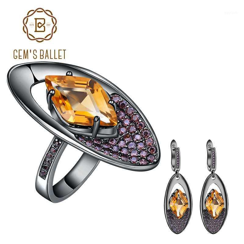 Балет GEM 925 Серьги стерлингового серебра натуральные цитрины натурального цитрина Набор геометрических нерегулярных винтажных ювелирных изделий для женщин Party1