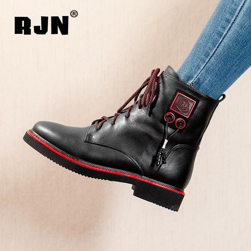 Botas RJN Lanas Mujeres Invierno Bootie Color Mixto Diseño único Comfort Toe Redondo Tacón bajo Limites de cuero genuino R12