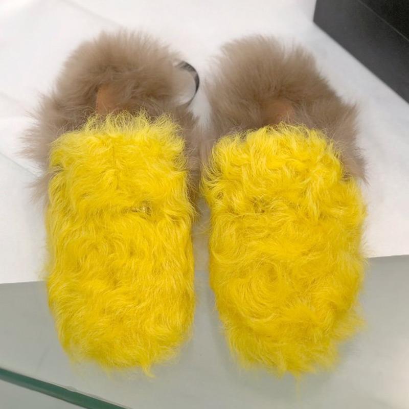 Damen Winter Pelz Hausschuhe von gefälschten heißen Mode Schuhe Rutschen in MädchenApartment Schwarze Rosa Rutsche Gemütliches Zuhause Hairy Rde0