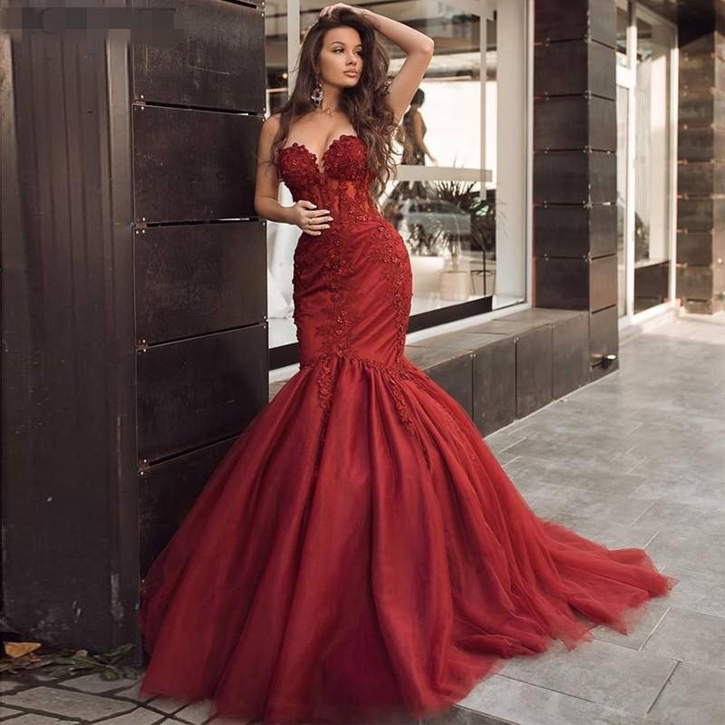 Bordo Mermaid Abiye 2021 Büyüleyici Sevgiliye Boncuklu Dantel Özel Durum Parti Abiye Maruz Boning Lady Koyu Kırmızı Balo Elbise