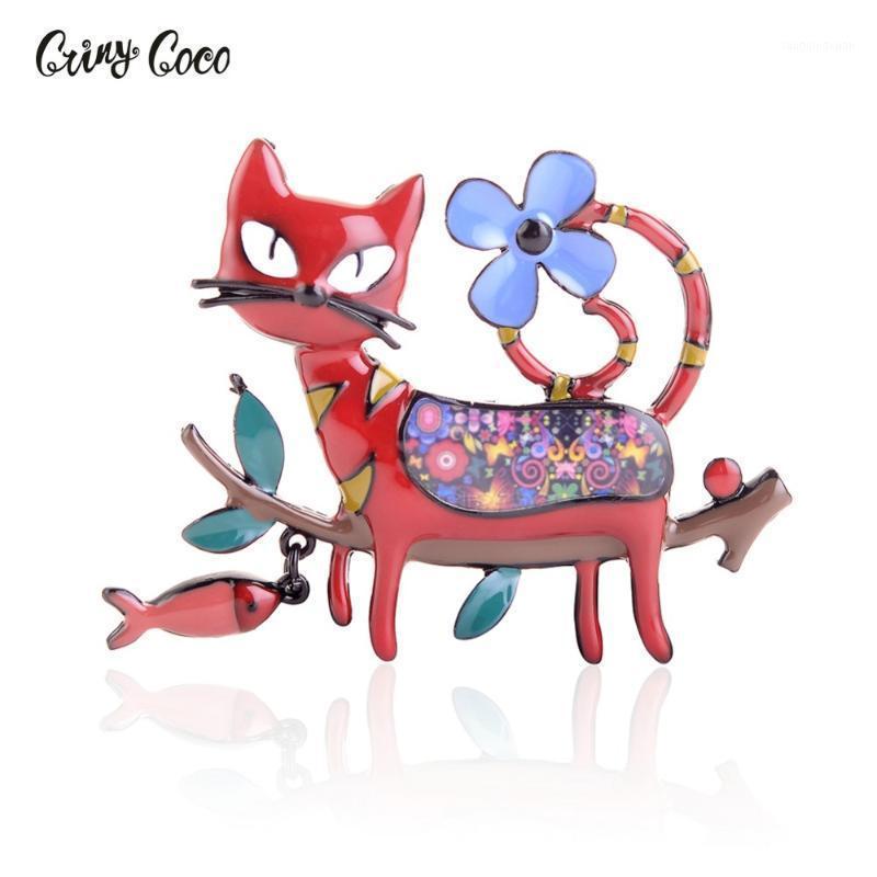 Cring coco fofo desenhos animados gato forma esmalte broche adorável animal colorido colar lapela pino moda jóias roupas acessórios1