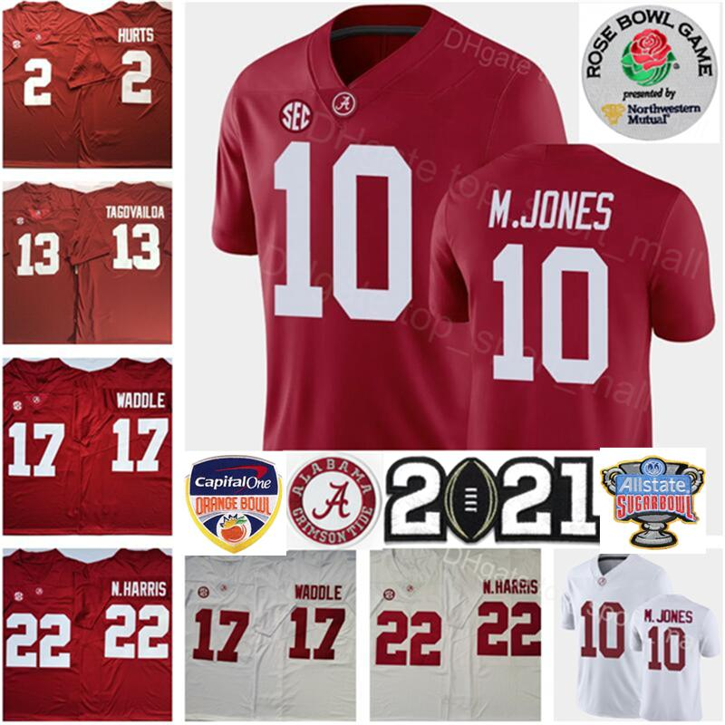 2021 Playoff Alabama Crimson Tide Mac Jones Jersey NCAA Jaylen Waddle Tua Tagovailoa Najee Harris Devonta Smith Jalen Hurts John Metchie III