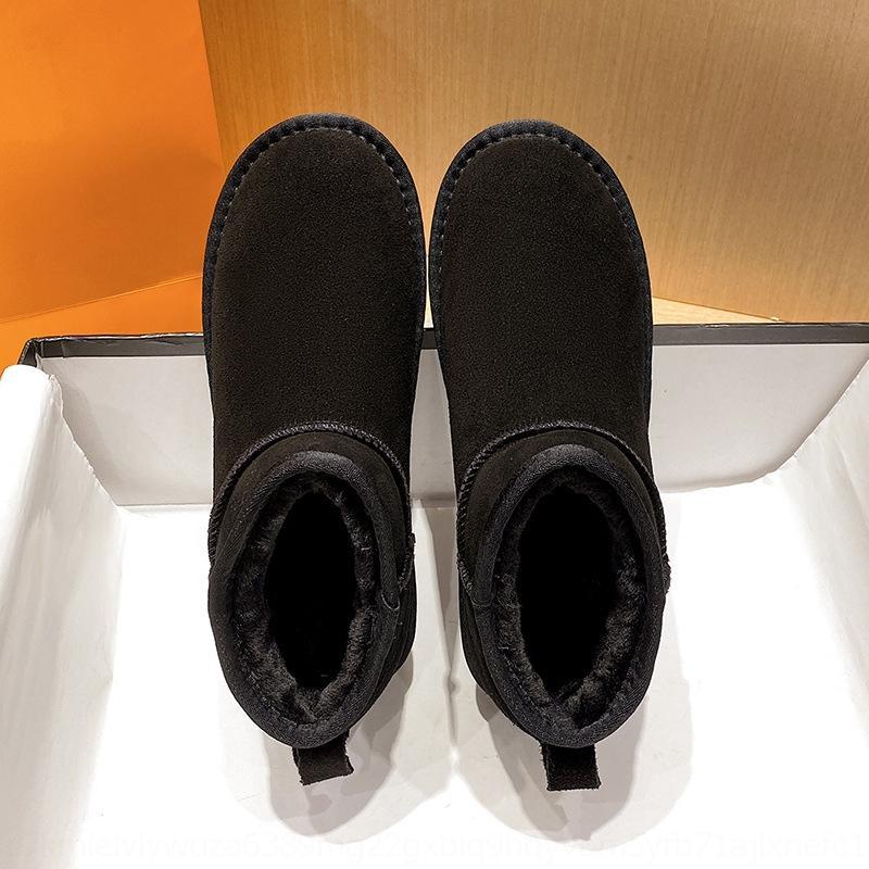 C5KN 2020 Botines de cálido Peluche Terciopelo Invierno Mujeres Botas de nieve Zapatos grandes Mid-becerro Impermeable Camuflaje Tamaño de las mujeres de la mujer