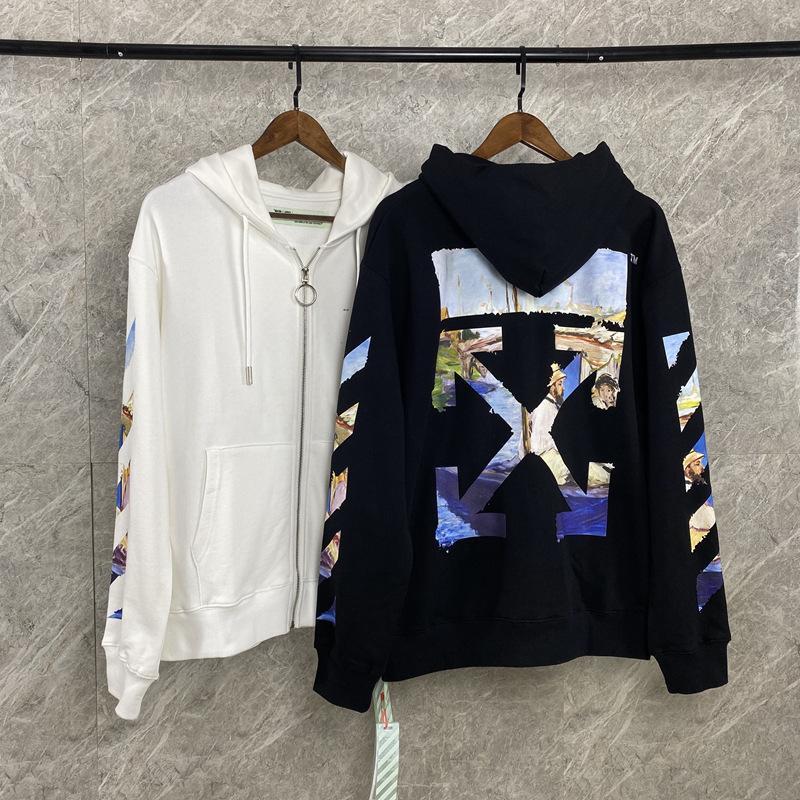 OW Moda Pintura al óleo Algodón Terry Sweater Hombres y mujer Cardigan Cardigan abrigo