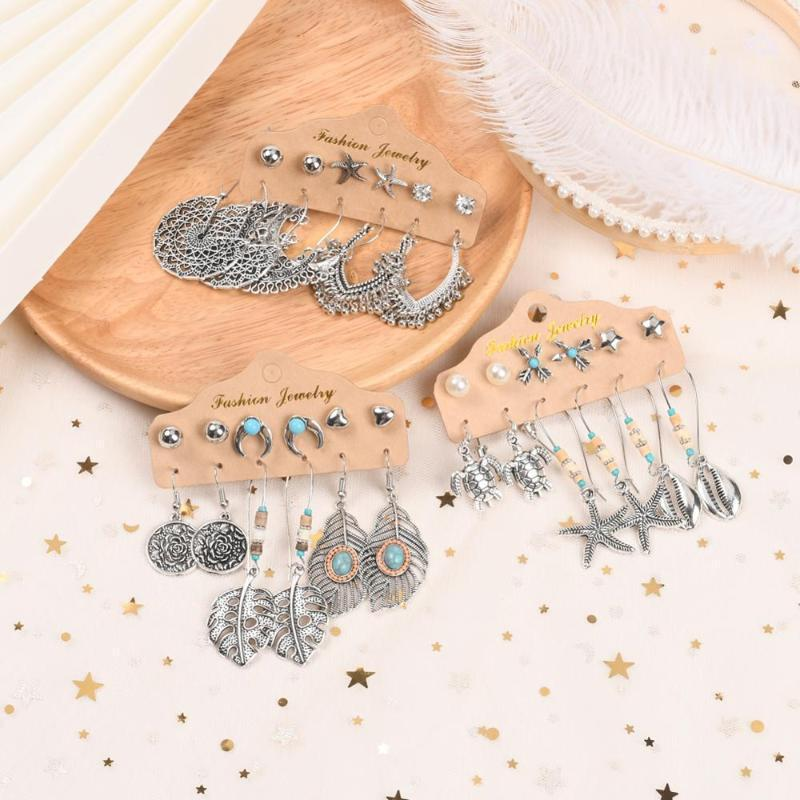 Hoop & Huggie Vintage Leaf Shell Charms Drop Earrings Sets For Women Boho Statement Bijoux Femme Maxi Jewelry1