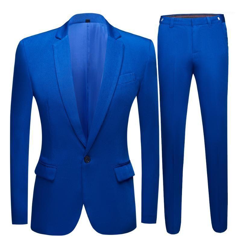 Vestido de casamento do sexo masculino Royal Blue Men's Blazer Suits Club Noite Terno 2 Peças (Casaco + Calças) 1