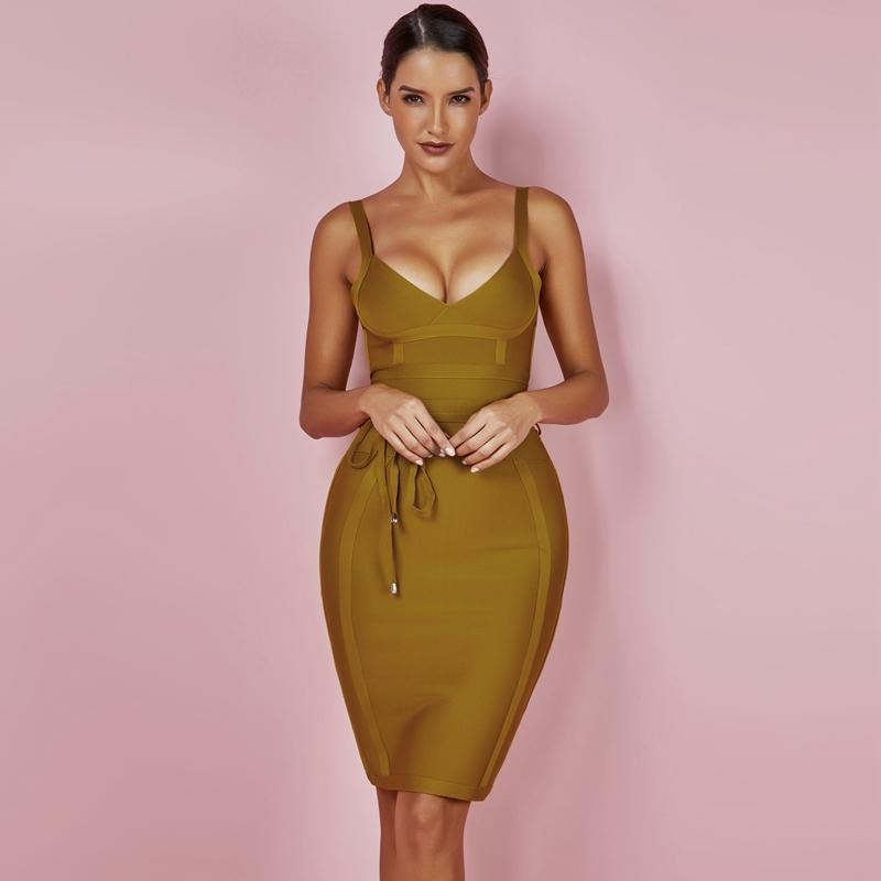 Ocstrade Women Bandage Dress 2019 Rayon Sleeveless Summer New Arrivals Sexy Deep v Neck Vestido Bodycon Club Party F1130