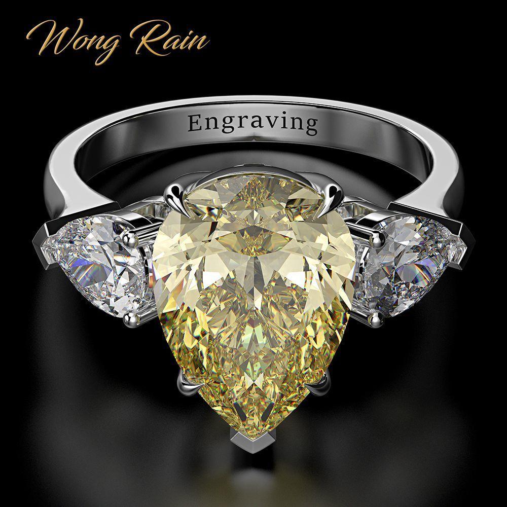 Wong Yağmur 100% 925 Ayar Gümüş Armut Oluşturulan Moissanit Akuamarin Taş Düğün Nişan Yüzüğü Güzel Takı Toptan Y1119