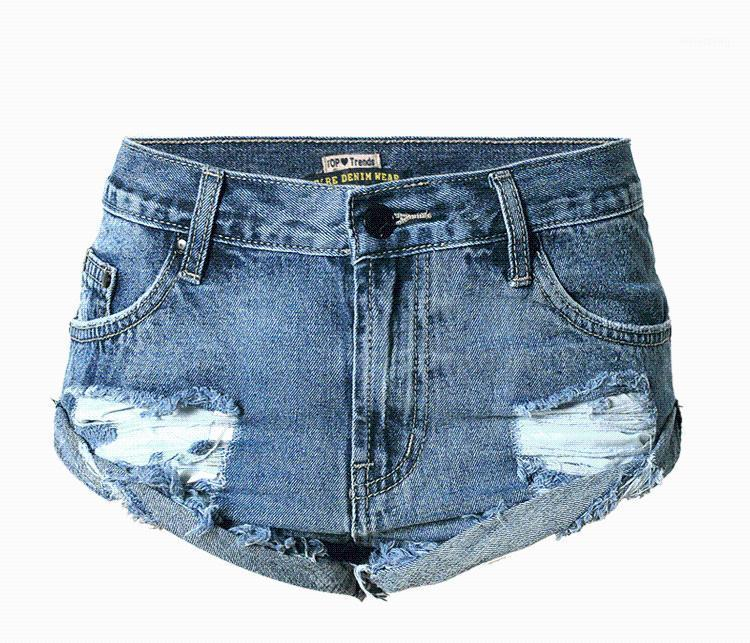 Blue Rolled Hem Distressed Ripped Short Jeans For Women Summer Loose Boyfriend Jeans Shorts Mid Rise Denim Hot Short Pants1