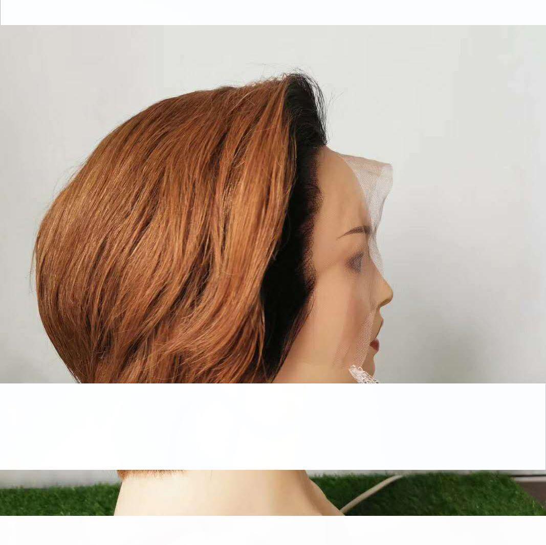 Pre Klumped 13x4 Dantel Ön 8 Inç Pixie Ombre Renk İnsan Saç Peruk Doğal Saç Çizgisi Bakire Brezilyalı Düz Dantel Peruk