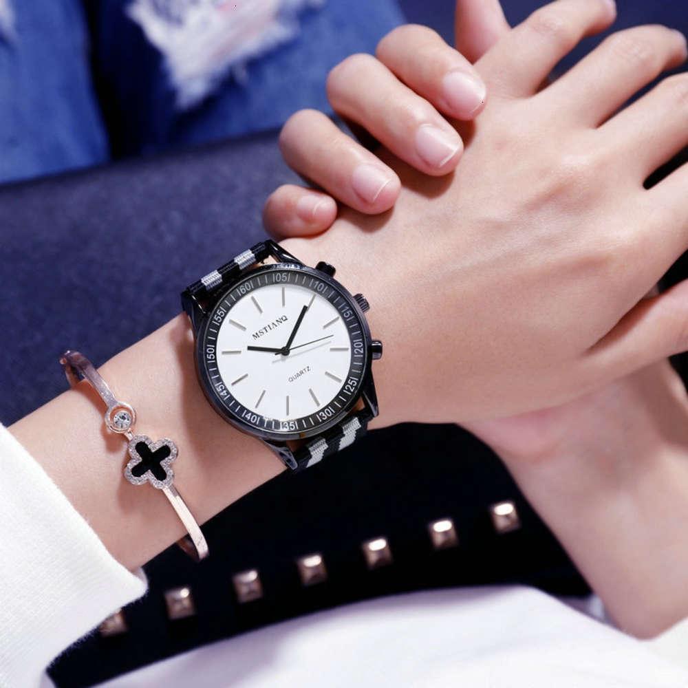 Смотреть моду мужской досуг Trend улица женские часы холст ремень студент студент пару кварцевые часы