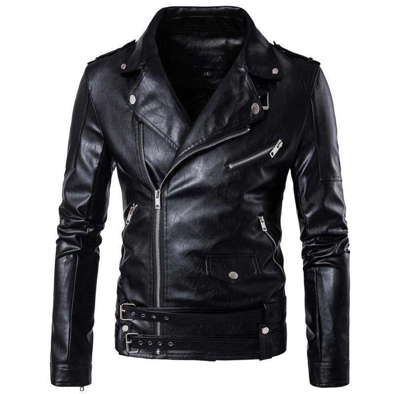 Herbst Winter Wickerbreaker PU Motorrad Leder Jacken Casual Punk Outwear Bomber Faux Jacke und Mäntel Marke Männer Kleidung