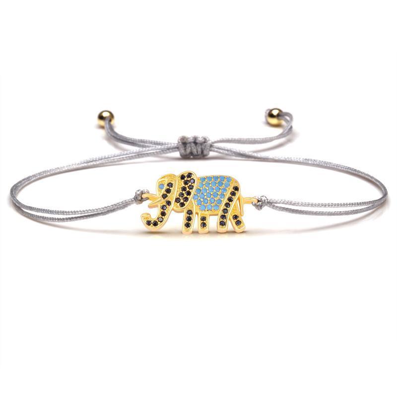 Blueblack cubic zirconia pietre rame elefante fortunato fascino braccialetto per le donne 2021 nuovo arrivo chic cz bei monili animali