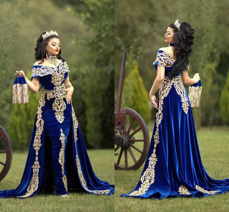 Traditional Kosovo Velvet Evening Dresses with Detachable Train Lace Applique Arabic Mermaid Prom Dress robe de soirée 2021
