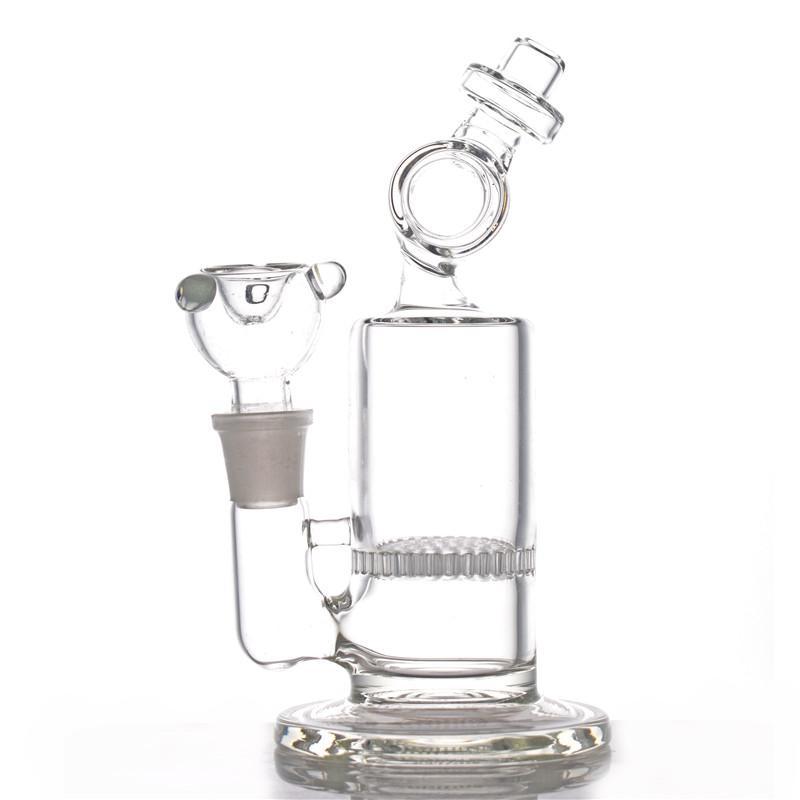 Bongs de agua de vidrio 8 pulgadas de panal en la jaula PERCOLADOR DE AGUA GRUPO DE AGUA BONG CON TAZA DE FUMA DE 18MM