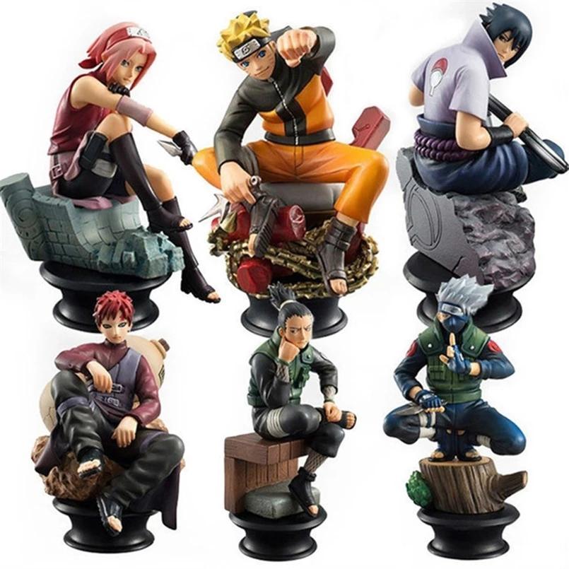 6 pçs / set Naruto figuras de ação bonecas de xadrez pvc anime naruto sasuke gaara modelo figuras para decoração coleção presente brinquedos q1217