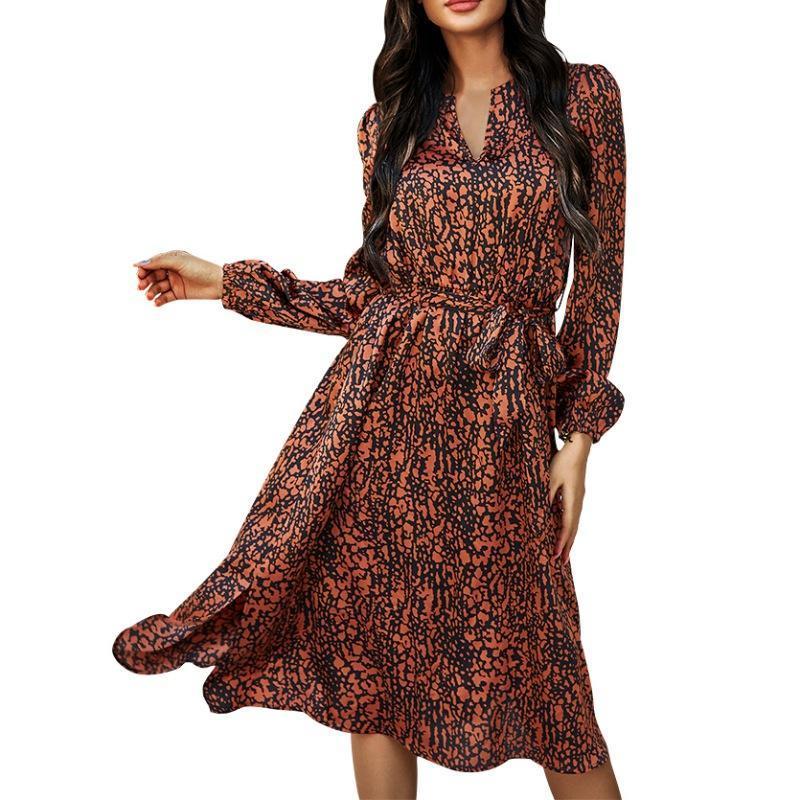 Vestidos casuales Damas Retro Vestido impreso Leopardo Impresión de leopardo de cintura alta de cintura suave y suave cómodos Vestidos