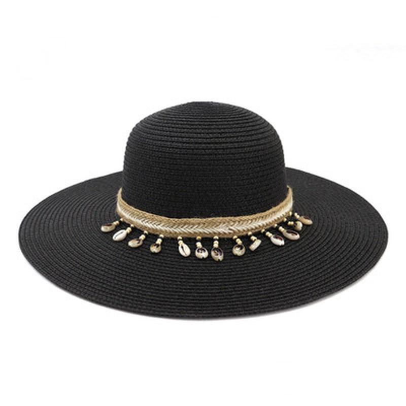 chapeaux de soleil femmes estivale printemps plage chapeau de paille grand bord avec ceinture chaîne décontractée décontractée soleil de protection voyage fête fête chapeau de plage femme