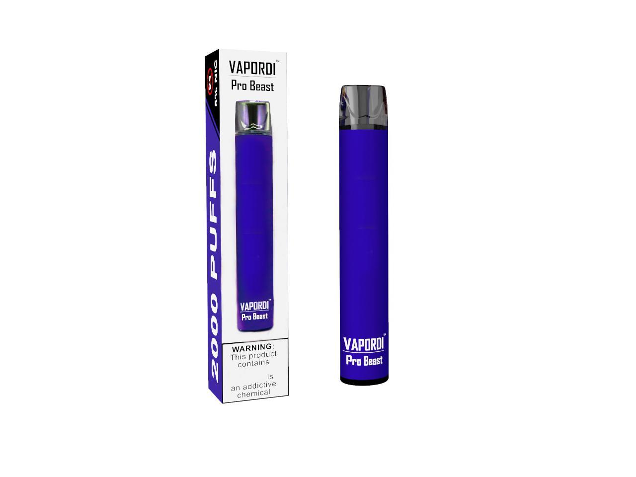 100% originale Vapordi Pro Bestia verifica monouso Pod Kit 18350 Batteria 8.5ml preriempita cartuccia 2000 Puff Vape Svuotare Pen Authentic