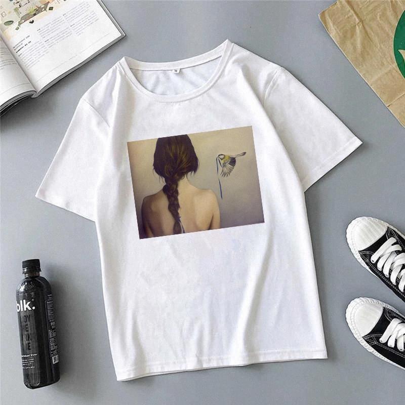 Zogankin Komik T Shirt Kadın Giysileri Karikatür Baskılı T-shirt Yaz Kısa Kollu Yuvarlak Boyun T-Shirt Kadın Tee Giyim Tops # 1k9f