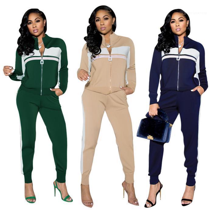 Ensemble de pistes à glissière patchwork manches longues manteau de femme manteaux décontractés pantalons de crayon automne féminin femme femme tenue vêtement 2021 femmes 2pcs