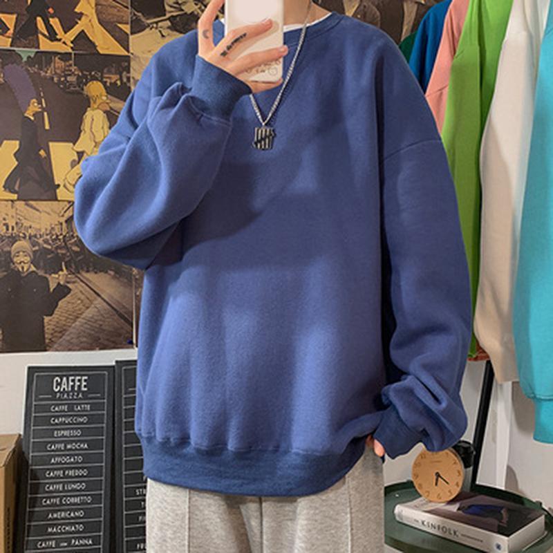 Мужские толстовки для толстовки Harajuku осенью мужчины повседневная о шеи с длинными рукавами свободно простые стиль моды мужские пуловеры