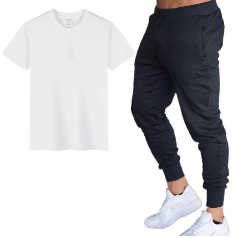 Neue 2020 Designer Sommer Herren T-Shirt Sets + Hosen Zwei Teile Sets Sets Casual Herren T Shirt Jogger Skinny Hosen Fitnessstudios Fitness Sweatpants Männer Set