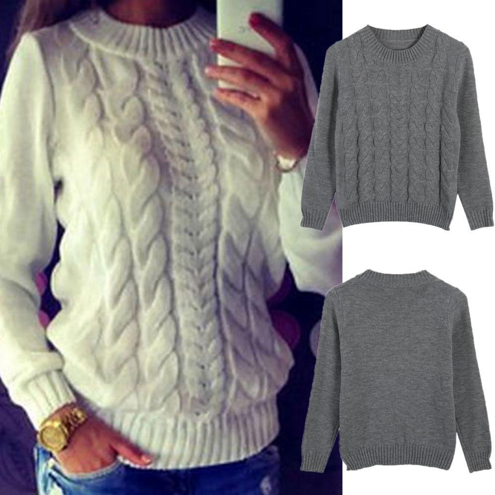 Muchas de mezcla de lanas para mujer Señoras de invierno Twist de punto Jersey Pullover Top Punto de punto Suéter Túnico Jersey Mujer