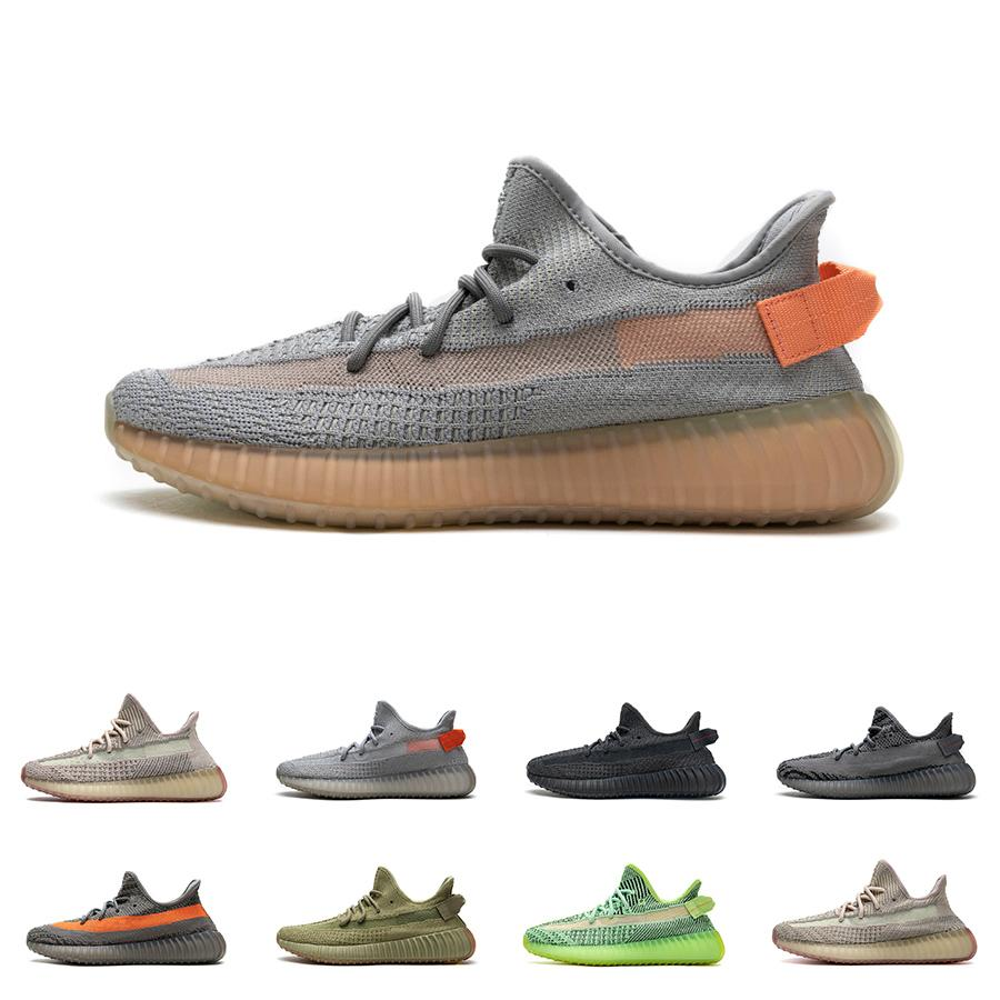 Mens Kanye West 350 V2 Sneakers Womens Eliada Earth True Form 3M Black Reflective Static Cinder Yechiel Tail Light Cream White Running Shoes