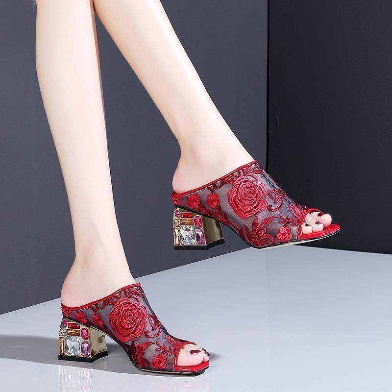 talons hauts femmes chaussures sandales pantoufles les derniers talons plats pantoufles sandales Sandales de banquet de feamerman chaussures 238