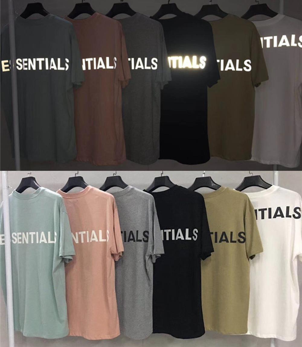 Streetwear Oversized 3M Niebla reflexiva Esenciales T Shirts Hombres Mujeres Tee Hiphop Kanye West Fog T-SHIRTS TSHIRT X1214