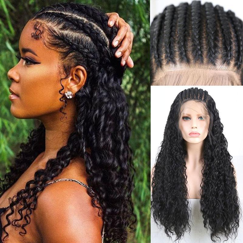 Synthetische Perücken Rongduoyi Black Hair Micro Geflochtene Perücke Spitzefront für Frauen Handgebundene Kiste 13 * 6