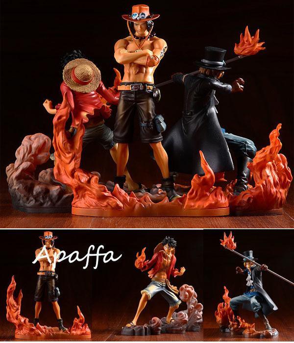 Anime One Piece DXF Irmandade II Monkey D Figuras Luffy Portgas d Ace Sabo PVC Figuras de Ação Brinquedos Presente de boneca de modelo colecionável Q1217