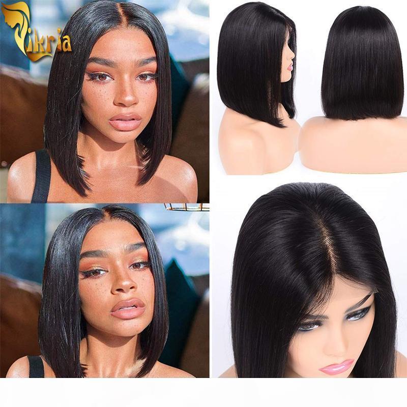 Cheap cabelo humano bob perucas perucas dianteiras de renda 130% ~ 150% Brazilian Remy cabelo peruca peruca pré-coluna pré-arrancada com cabelo para bebés para mulheres negras