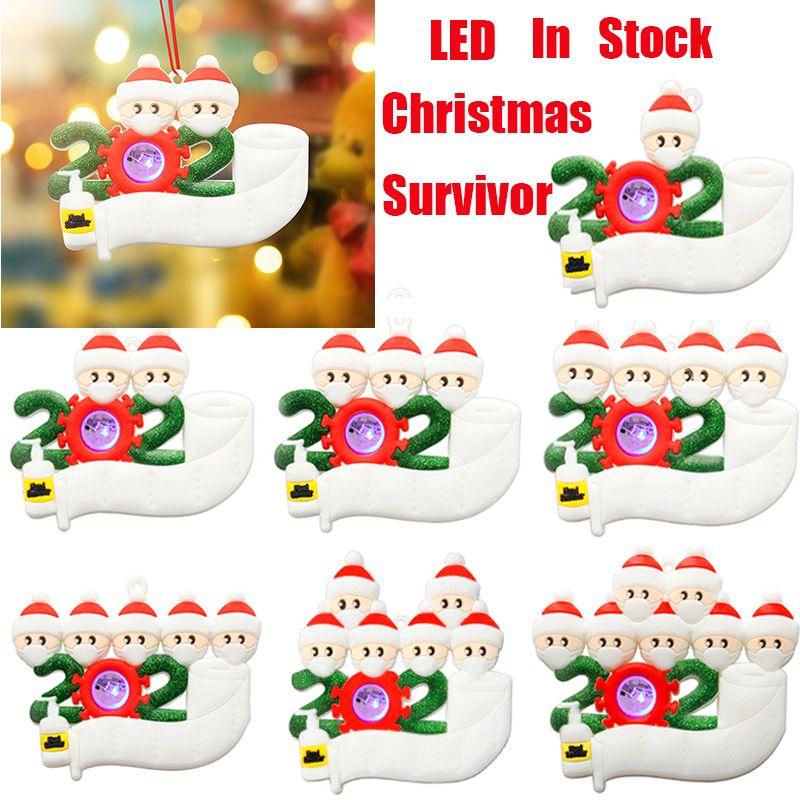 Nouveaux LED Christmas de Noël Ornements de quarantaine Jouets Survivant 1 à 7 Arbre généalogique Décorations d'éclairage de Noël Favoris Favoris Masque Cadeaux Jouets