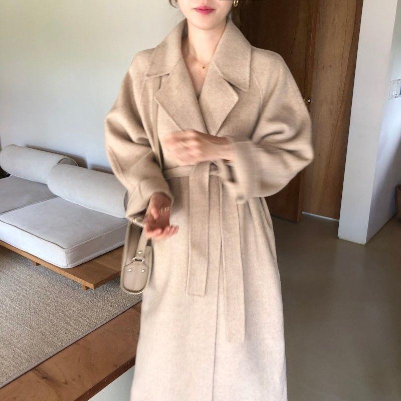 Heydress 2020 mujeres invierno elegante cálido manga larga capa de lana oficina de la oficina sólido sashes coreano streetwear femenino ropa exterior