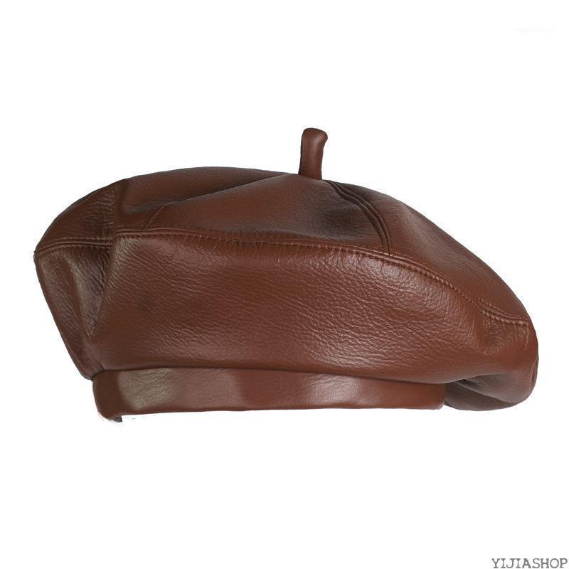 Neue Mode Frauen Leder achteckige Hut Newsboy Hut Retro Barett Stil Retro Leder Cowboy1