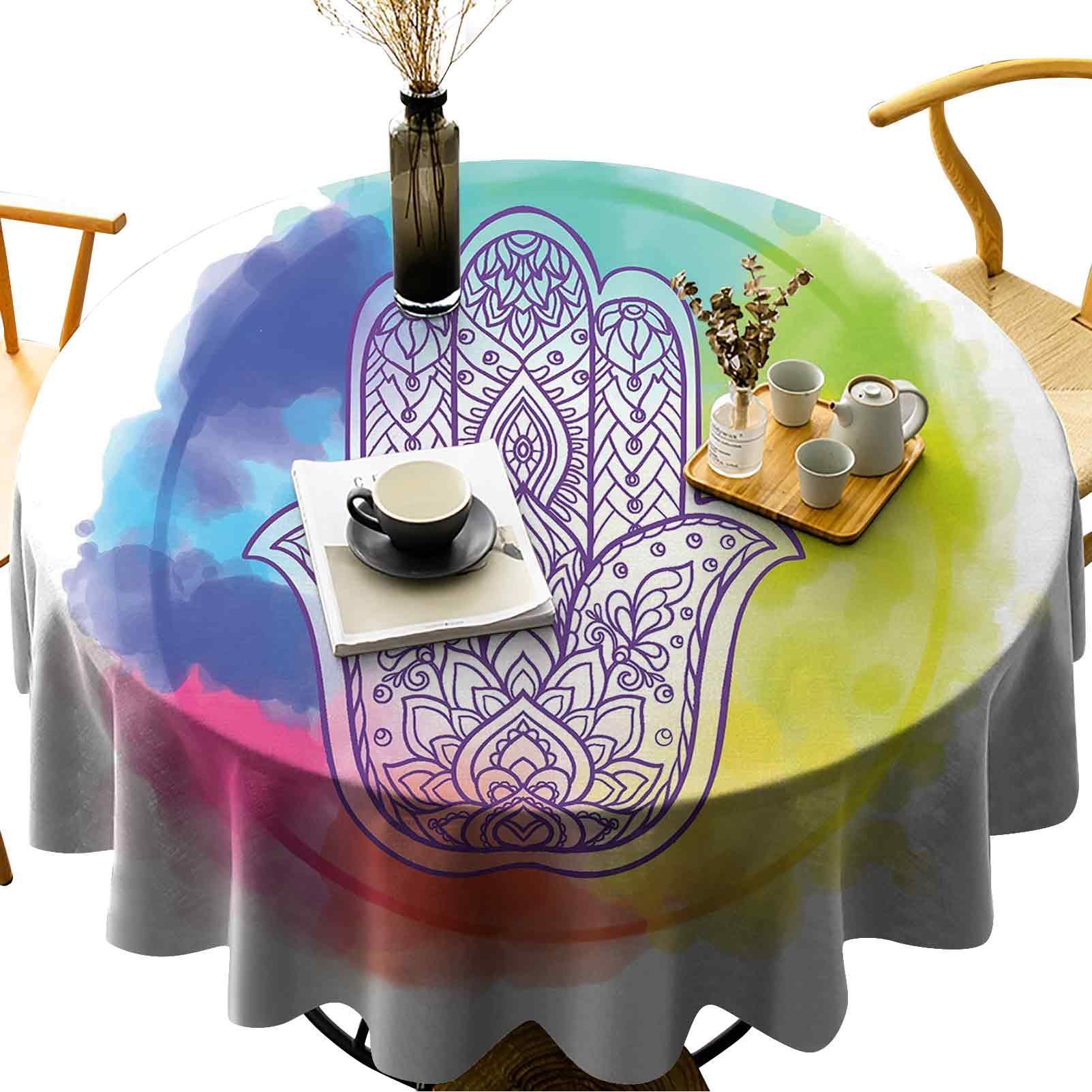 Courrage de la table ronde ronde étanche de couleurs vives rêveuses et de la main de Fatima avec des éléments de charme ésotérique
