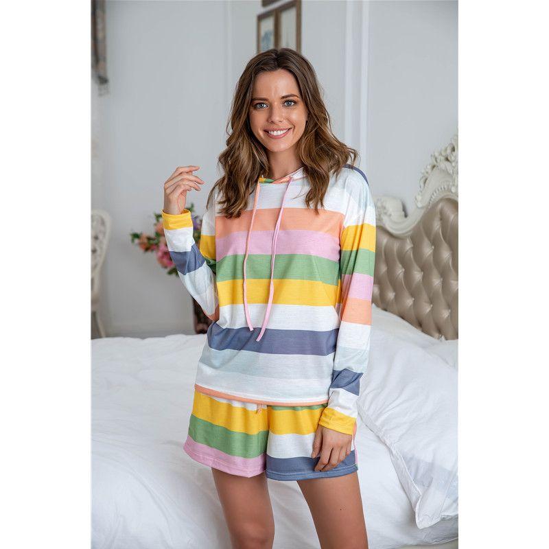 2020 Mode Femmes Sleepwear Nouvelle Arrivée Mesdames Home Wear Deux morceaux Sweats à manches longues à rayures à rayures + Pyjamas courts Plus Taille