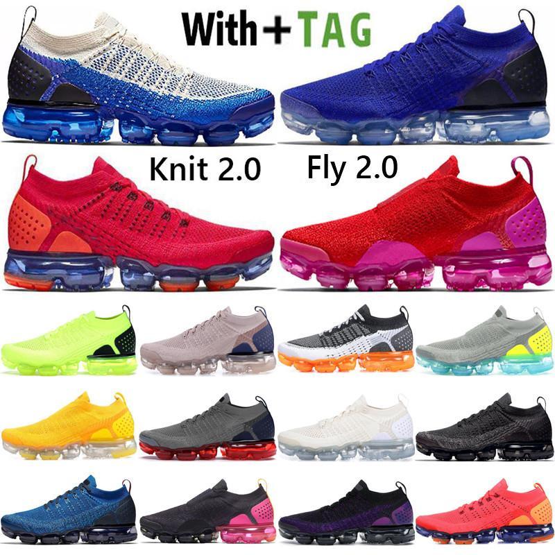 2021 En Kaliteli Yastık OG Knit Sinek 2.0 Erkek Koşu Ayakkabıları Safir Mavi Safari CNY Kırmızı Fuşya Kadın Sneakers Eğitmenler Boyutu 36-45