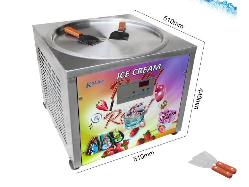 Freier Versand EU US 45cm Eisschacht-Arbeitsplatte Rolle Eiscreme Maschine Gebratene Eismaschine mit Auto-Abtau, PCB von Samrt Ai Temp.Controller