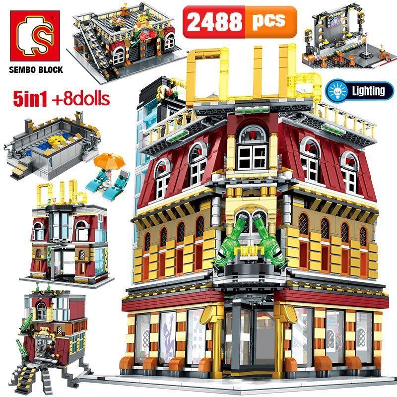 SEMBO 5-IN-1 USB светлый ночной клуб дом строительные блоки городские улицы видят сериал фигуры кирпичи образовательные игрушки для малыша Q1126