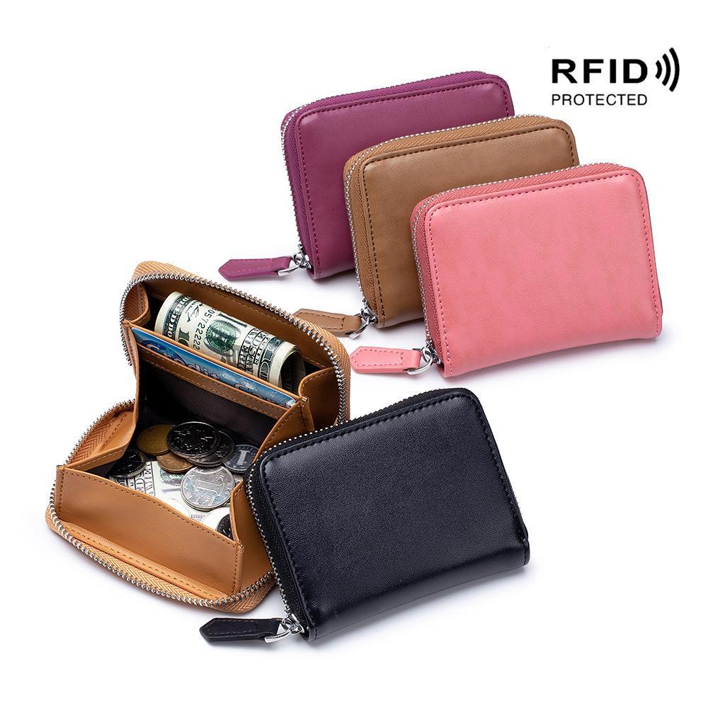 الجلود المرأة صفر محفظة البسيطة أكياس عملة اليد حقيبة حمل حقيبة الأمن RFID الرجال تلقي البريدي عملة تصنيف تغيير محفظة