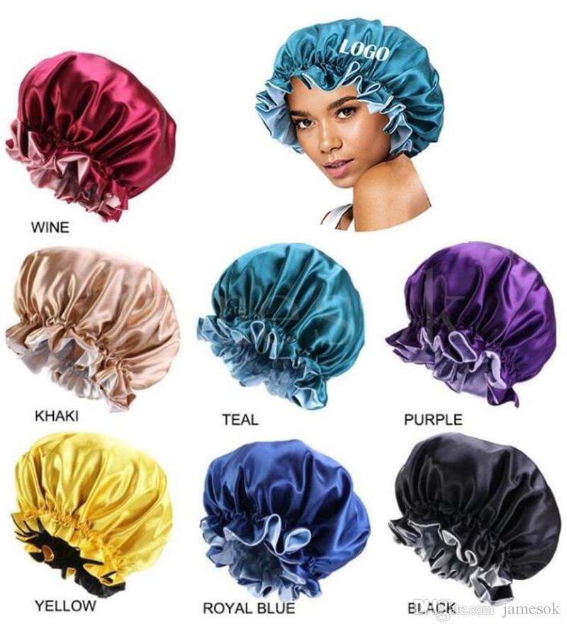 Hızlı Kargo 7 Renkler Yeni Ipek Gece Kap Şapka Çift Yan Giyim Kadın Kafa Kapak Uyku Kap Satin Bonnet Güzel Saç Kuaförlük Şapka